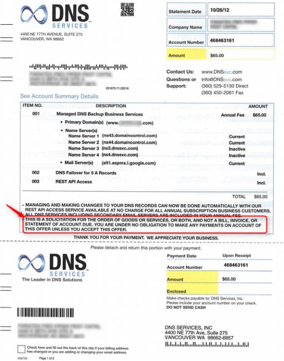 DNS Services Scam Letter