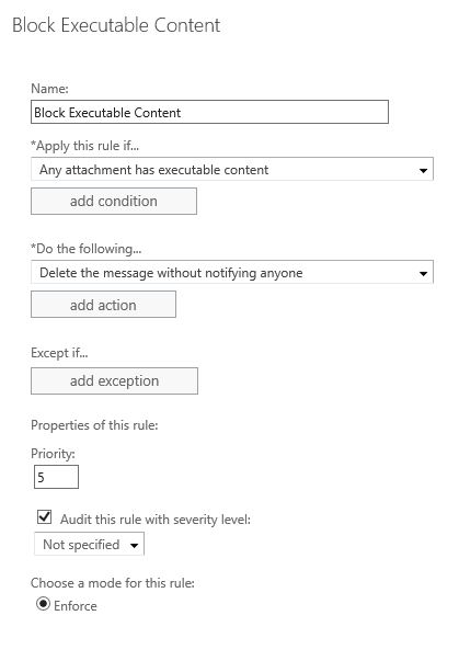 Block EXE with Office 365