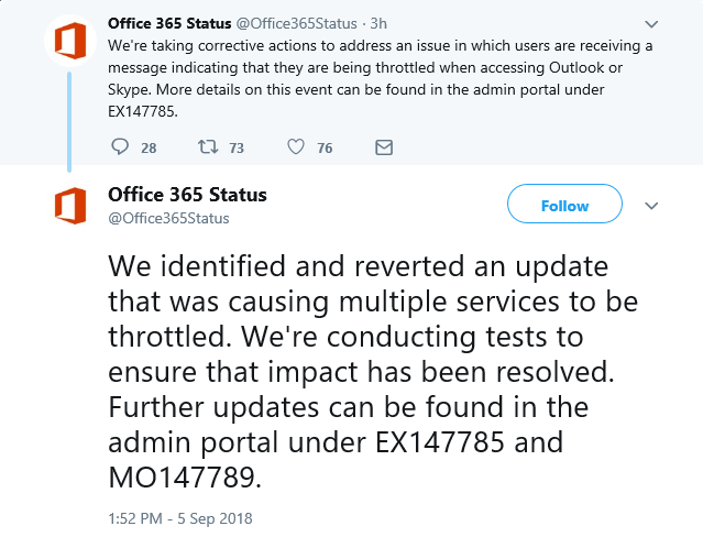 Office 365 Status Tweets