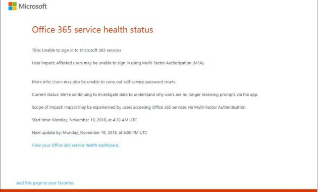 Office 365 MFA Down